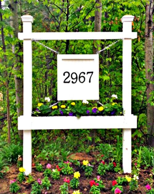 House Number Sign With Planter Box