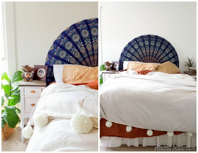 Rounded Upholstered Boho Headboard